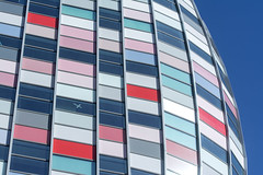 Facade with lines and colors (Jan van der Wolf) Tags: map191209v lines lijnen colors colours panels panelen color red blue architecture architectuur facade gevel utrecht poortgebouw