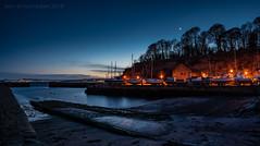 Dysart Harbour (ianrwmccracken) Tags: sand nikon crescent water moon dysart scotland orange sea nikkor2470mmf28 panorama d750 fife silhouette tree streetlight sky twilight shore riverforth boat bluehour coast harbour dusk edinburgh