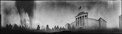 Independence Restoration Day (batuda) Tags: panorama wide 360 anamorph anamorphic pinhole obscura stenope lochkamera analog analogue can coffee cylindrical paper ilford ilfospeed 6x21 d76 bw 11 town city festival independencerestorationday warmuseum human kaunas center karomuziejus kovo11 spring interwar modernism