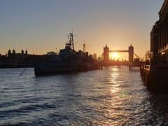 HMS Belfast and Tower Bridge Sunrise (timothyhart) Tags: toweroflondon towerbridge london uk sunrise march 2019 spring riverthames pooloflondon orange yellow dawn morning early serenity beauty