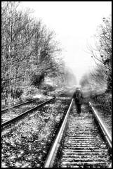 In cammino... (claudiobertolesi) Tags: cammino claudiobertolesi railway ferrovia binario people road trees autumn chiaravallemilanese 2013 blackwhite cold winter alone sonynex6 lombardia italy