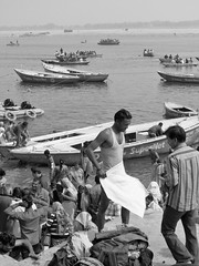 varanasi 2019 (gerben more) Tags: varanasi benares ganges ganga boats blackwhite monochrome india people water