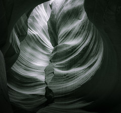 Sandstone Swirl - Toned B&W (byron bauer) Tags: byronbauer blackwhite duotone navajo sandstone slot canyon wall page arizona texture rock wind water erosion sediment strata filtered light american southwest