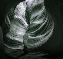 Sandstone Swirl - Toned B&W (byron bauer) Tags: byronbauer blackwhite duotone navajo sandstone slot canyon wall page arizona texture rock wind water erosion sediment strata filtered light american southwest elitegalleryaoi bestcapturesaoi