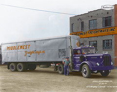 Autocar Middlewest FreightwaysColorized (gdmey) Tags: autocar middlewestfreightways trucks transportation colorized