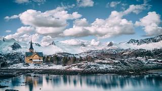 Norway - Lofoten - Church-Winter-Mountain-Landscape