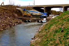 Sturdier and more sophisticated 'flood control system'? The previous one was wiped out in March. Wayne. (ali eminov) Tags: wayne nebraska bridges creeks logancreek culverts floodcontroldam heavymachinery buldozers
