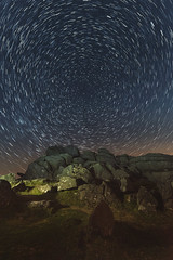 Hound Tor under the stars (Mark Frost :)) Tags: stars star trails startrails longexposure night astrophotography nikon d810 nikond810 tamron wideangle devon uk dartmoor houndtor moors moorland grass rock granite tor travel photography landscape portrait lightpainting light painting