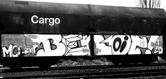 Graffiti on Freights (wojofoto) Tags: amsterdam nederland netherland holland graffiti streetart cargotrain vrachttrein freighttraingraffiti freighttrain freights fr8 wojofoto wolfgangjosten zwartwit blackandwhite monochrome benoi benoit