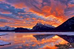 December Light show 2014 (John Andersen (JPAndersen images)) Tags: alberta banff canada morning mountains park reflections snow sunrise vermillionlakes