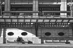 Concrete Bench (garryknight) Tags: sony a6000 on1photoraw2018 london themonoseries monochrome blackandwhite copyright allrightsreserved man sit sitting bench concrete cityoflondon bishopsgate street affinityphoto