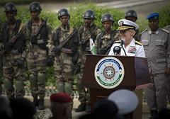 Rear Adm. Heidi Berg opens exercise Cutlass Express 2019 in Djibouti.