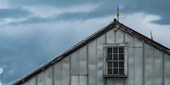 Metal Barn Roofline (davetherrienphoto) Tags: metallightningrod roof nh cloudy barn window roofline cloud