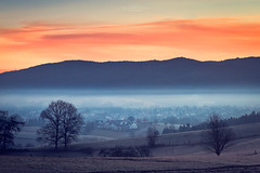 Sunrise in orange and blue (Rita Eberle-Wessner) Tags: landscape landschaft sunrise sonnenaufgang hügel berge hills rimbach odenwald nebel fog tal valley baum tree bäume trees wald forest häuser ortschaft village windrad reh deer atmosphere mood atmosphäre weschnitztal