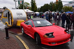 1993 Dodge Stealth R/T and T@B travel trailer (D70) Tags: 1993 dodge stealth rt tb travel trailer langleygoodtimescruiseincarshow2017aldergrove bc canada rust umbrella caravan fulltime fourwheel drive steering active aerodynamics automatically adjusting front rear spoilers sporttour exhaust modes electronically controlled suspension ecs featured popup headlights articulated blister caps hood accommodate controllers top strut turrets signature crosshair bumper fascia crescentshaped spoiler