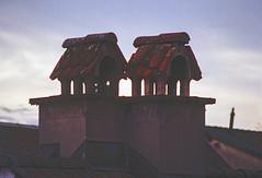 Covered Chimneys (Bephep2010) Tags: 2019 kodakgold minolta minoltamctelerokkorpe145f200mm minoltax700 photoexif schornstein schweiz solothurn switzerland winter x700 analog analogue chimney covered überdacht kantonsolothurn ch
