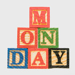 Creative Monday text formed by wooden blocks thumbnail