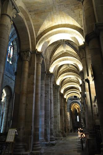 Bas-côté, église romane St Sauveur, Figeac, Quercy, Lot, Occitanie, France