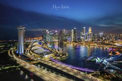 Dusk at Marina Bay Singapore (MEzairi) Tags: sunset dusk twilight blur hour singapore marina bay asia aerial flyer cityscape skyline urban business apartment hotel casino cbd zeiss batis 18mm 2818 batis2818 e mount architecture