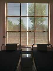 Hospital wards (Somersaulting Giraffe) Tags: indoor hospital ward beds windows outside daylight warm plants trees wall stones table