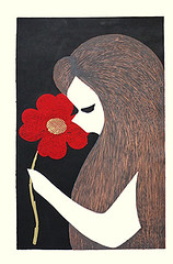 Camellia (Japanese Flower and Bird Art) Tags: flower camellia japonica theaceae kaoru kawano modern woodblock print japan japanese art readercollection