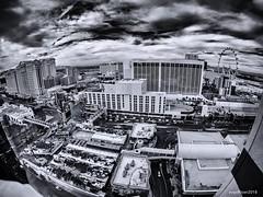 Vegas from the Edge (evanffitzer) Tags: lasvegas vegas gopro wideeye bw blackandwhite mono monochrome city cityscape fisheye sky darksky thestrip traffic architecture