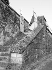 Giverny Church Stairs (dckellyphoto) Tags: giverny france 2013 normandy church sainteradegonde stairs old givernychurch rueclaudemonet radegund monochrome noiretblanc