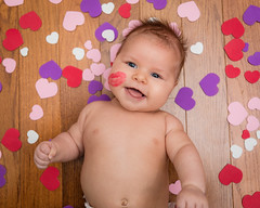 First Valentine's Day (zachary.locks) Tags: stick above baby blue boy child cute day eyes floor from gabe happy hearts infant kissed kisses lip looking mark smile smiling son up valentines wood zlocks