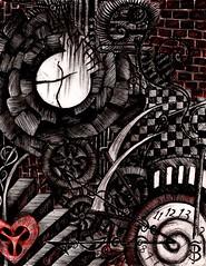 The Asylum (Skyler Brown Art) Tags: angst architecture art artwork blackred broken charcoal clock dark darkness drawing gears goth gothic heart heartbreak industrial ink love nightmare ominous paper pen red sad surreal surrealism time usa