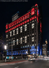 Trinity Building (20190216-DSC04884) (Michael.Lee.Pics.NYC) Tags: newyork trinitybuilding broadway wallstreet lowermanhattan night street architecture presidentsday red white blue sony a7rm2 voigtlanderheliar15mmf45