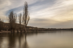 Embalse de Linares. (Amparo Hervella) Tags: embalsedelinares segovia españa spain paisaje agua árbol naturaleza reflejo nube atardecer largaexposición d7000 nikon nikond7000