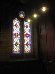A Non-Figurative Stained Glass Narthex Window by Ferguson and Urie; the Former Saint George's Presbyterian Church - Chapel Street, St Kilda East (raaen99) Tags: fergusonandurie fergusonanduriestainedglass fergusonurie fergusonuriestainedglass floral flower blue red green yellow glass victorianstainedglass quarryglass leadlight leadlightglass diaperpattern pattern nineteenthcenturystainedglass 1880 1880s floralpattern saintgeorgespresbyterianchurch saintgeorgesunitingchurch saintgeorgeschurch saintgeorgesstkildaeast saintgeorgeseaststkilda stgeorgespresbyterianchurch stgeorgesunitingchurch stgeorgeschurch stgeorgesstkildaeast stgeorgeseaststkilda unitingchurch presbyterianchurch presbyterian eaststkilda stkildaeast chapelstreet chapelst church placeofworship religion religiousbuilding religious melbourne nineteenthcentury victorian victoriana 19thcentury victoria australia gothicrevivalarchitecture gothicarchitecture gothicrevivalchurch gothicchurch gothicbuilding gothicrevivalbuilding ecclesiastical gothicrevivalstyle gothicstyle architecturallydesigned albertpurchas architecture building window stainedglass stainedglasswindow lancet lancetwindow star starpattern detail
