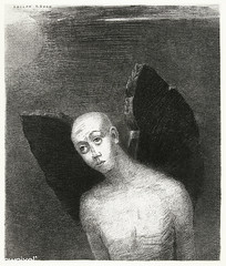 Artwork by Odilon Redon (Free Public Domain Illustrations by rawpixel) Tags: name angel art arts artwork bald black blackandwhite bw dark decor decoration drawing face fallenangel french illustration lithograph odilonredon paper poster print redon retro satan thefallenangelspreadshisblackwings vintage wing wings