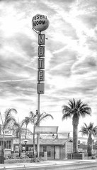 Desert Moon Sign (podolux) Tags: 2019 april2019 sony sonya7 a7 sonyilce7 ilce7 lasvegas nevada nv clarkcounty sign signs blancoynegro blackandwhite bw monochrome duotone motel motelsign vintagesign postprocessing snapseed