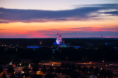 A Beautiful Evening over the Magic Kingdom (orlandobrothas) Tags: wdw waltdisneyworld magickingdom sunset orlando florida cinderellacastle tomorrowland bigthundermountainrailroad astroorbiter nikond5300 1855mm