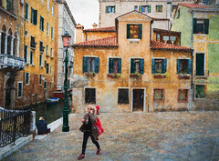 Lady with Red Shopping Bag- (lornahamblin) Tags: venice italy streetshooting streetlife shopper textured topazimpression photopainting photoshop