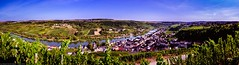 Wormeldange - Panoramic view of the Moselle valley, from the Wuermer Koeppchen (Robert GLOD (Bob)) Tags: donatus donatuskapell kapell koeppchen lu mosel moselle musel wormeldange wormeldingen wormer wuermeldeng wuermer wuermerkoeppchen creek europe grapes luxembourg panorama river stream vineyard köppchen