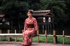 Picture perfect woman,  Kenrokuen,  Kanazawa,  1993 (D70) Tags: pictureperfect woman kenrokuen kanazawaaugust 10th 1993 hirosaka2chome kanazawashi ishikawaprefecture
