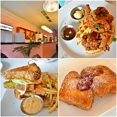 Clockwise from Top Right: Buttermilk Fried Chicken and Waffles, Captain Crunch French Toast, Breakfast BLT, Motel Restaurant, 359 Barton Street East, Hamilton, ON (Snuffy) Tags: motelrestaurant 359bartonstreeteast hamilton ontario canada food brunch