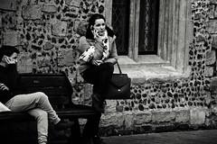 On the Phone (Bury Gardener) Tags: monochrome mono burystedmunds bw blackandwhite britain suffolk streetphotography street streetcandids snaps strangers candid candids people peoplewatching folks nikond7200 nikon england eastanglia 2018 cornhill