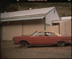 medium format film (Garrett Meyers) Tags: pentax67 garrettmeyers 120 6x7 kodak portra 400 kodakfilm 160 vintage car parked orange old rust filmphotographer film northerncalifornia
