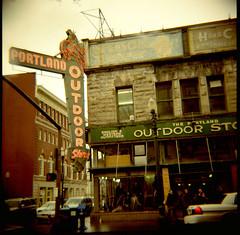 outdoor store (lawatt) Tags: outdoor store neon sign portland oregon film 120 portra 400nc diana f