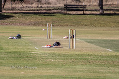 Drinks break at cricket (Malcom Lang) Tags: cricket sport summer pitch lawn oval grass seat fence tree line markings stumps bails helmets gloves bats faceguard 2019 play game club southaustralia southern south southernaustralia australia australian aussie canon mal lang photography mallangphotography