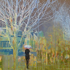 Silver and Gold (Lemon~art) Tags: trees buildings street manipulation woman umbrella silver gold painterly winter frost silverbirch