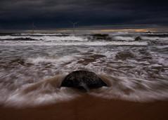 Tail end of Storm Erik (PeskyMesky) Tags: aberdeen aberdeenshire blackdog beach storm erik water wave sea ocean sand sky scotland longexposure motion movement canon canon5d eos