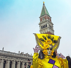 yellow danger (werner boehm *) Tags: wernerboehm carnivalofvenice mask camanile turm architecture