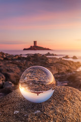 Lensball and Sunset on Le Dramont & Ile d'Or ( France ) (Yannick Lefevre) Tags: europe france longexposure landscape seascape sunset island iledor ledramont rockscape rocks reflection lensball sea clouds water stone nikon nikkor raw nef lightroomcc photoshopcc gitzo tripod kasefilters wolverineseries 12gndsoft 09gndsoft polarizercircular
