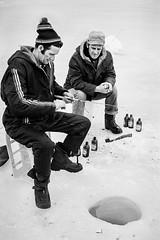 Village Life, Ice Fishing. 1970's (johnjackson808) Tags: beer cigarette fishing monochrome bw trix people icefishing streetphotography 1970s lake blackandwhite mckellarontario ice