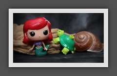 Ariel the 'Little Mermaid' (N.the.Kudzu) Tags: tabletop toys funkopop mermaid lego duplo turtle snail shell cheese cloth canondslr canoneflens canon430ex flash home