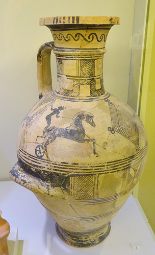 Cretan Archaic hydria with representation of a chariot race